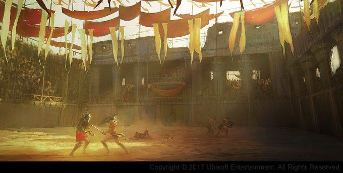 Assassins Creed Origins Concept Art Gilles Beloeil arene crocodilopolis