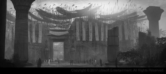 Assassins Creed Origins Concept Art Gilles Beloeil arene crocodilopolis entrance nb
