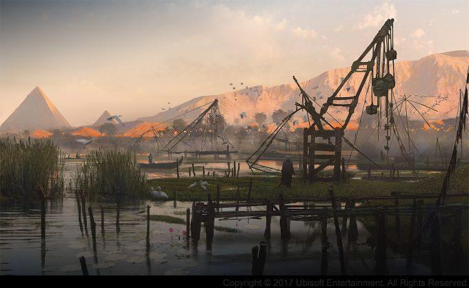 Assassins Creed Origins Concept Art Gilles Beloeil nile valley zone de peche