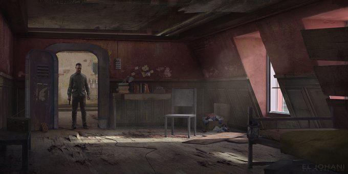 Ahmed El Johani Concept Art Illustration abandoned room