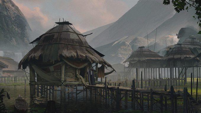 Ahmed El Johani Concept Art Illustration floating village 2