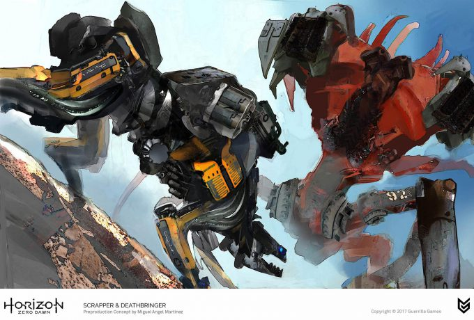 Horizon Zero Dawn Concept Art Scrapper Deathbringer robot Miguel Angel Martinez