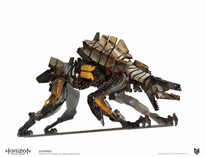 Horizon Zero Dawn Concept Art Scrapper robot Miguel Angel Martinez