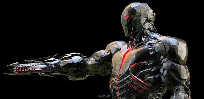 Justice League Concept Art Jerad Marantz Cyborg gun view 01