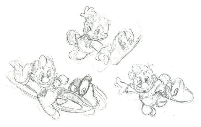 Nintendo Super Mario Odyssey Concept Art Sketches Mario and Cappy