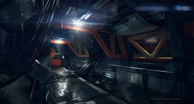 ken fairclough concept art siteb main corridor
