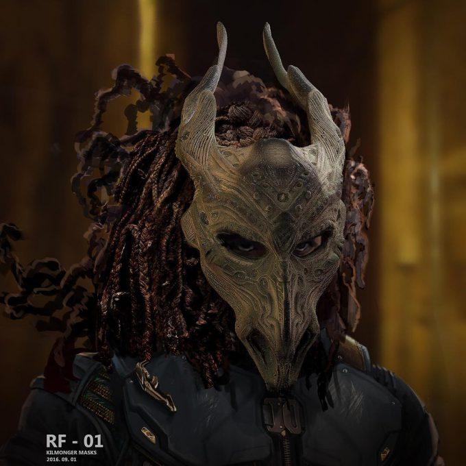 Black Panther Concept Art Rodney Fuentebella Erik Killmonger Mask 01