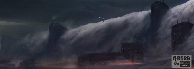 Dane Madgwick Concept Art Queensboro EXT Skies Above LA Below Dam