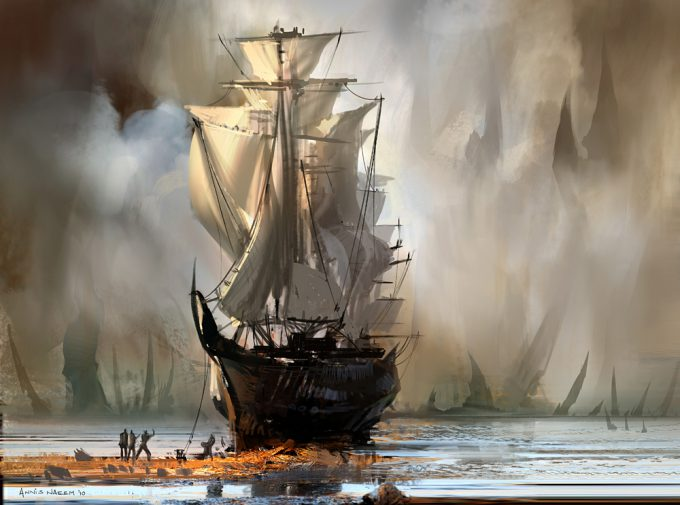 Sailing Ship Concept Art Illustration 01 Annis Naeem