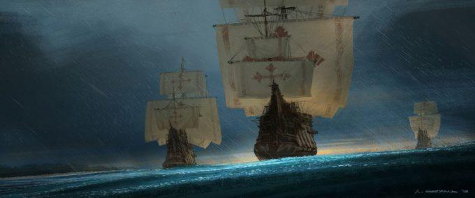 Sailing Ship Concept Art Illustration 01 Armand Serrano Santa Maria Pinta Nina