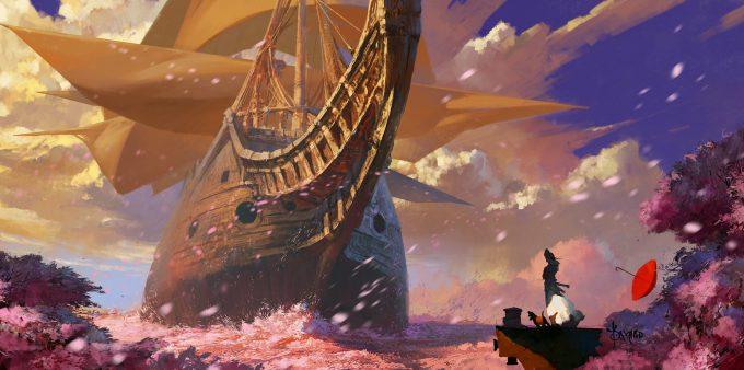 Sailing Ship Concept Art Illustration 01 Bayard Wu Sea of Sakura