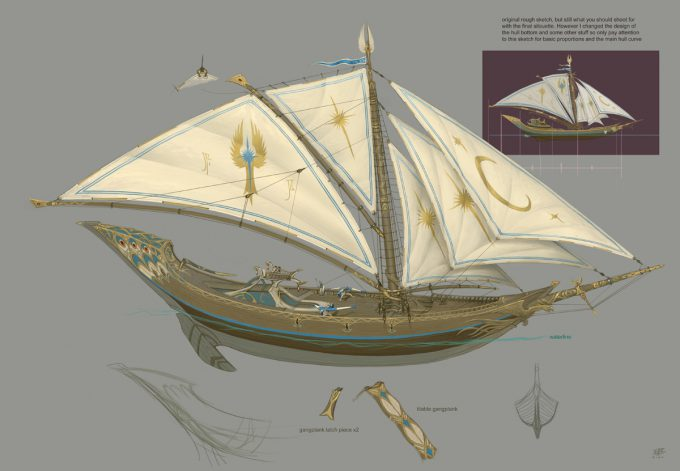 Sailing Ship Concept Art Illustration 01 Jonathan Kirtz