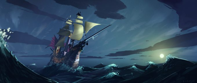 Sailing Ship Concept Art Illustration 01 Pavel Elagin Stormy Sea