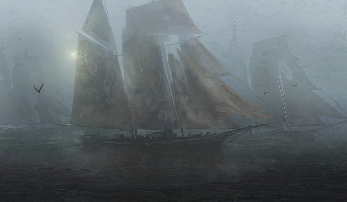 Sailing Ship Concept Art Illustration 01 Rasmus Berggreen The Fleet is Coming