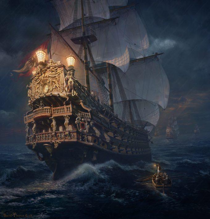 Sailing Ship Concept Art Illustration 01 Sarel Theron