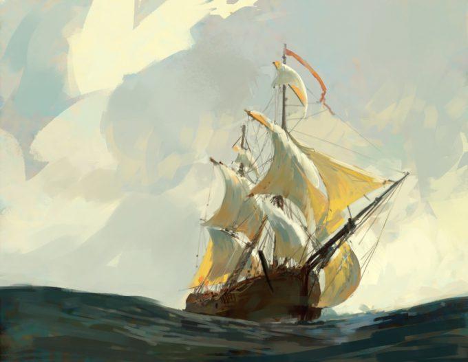 Sailing Ship Concept Art Illustration 01 Tuomas Korpi Sketch