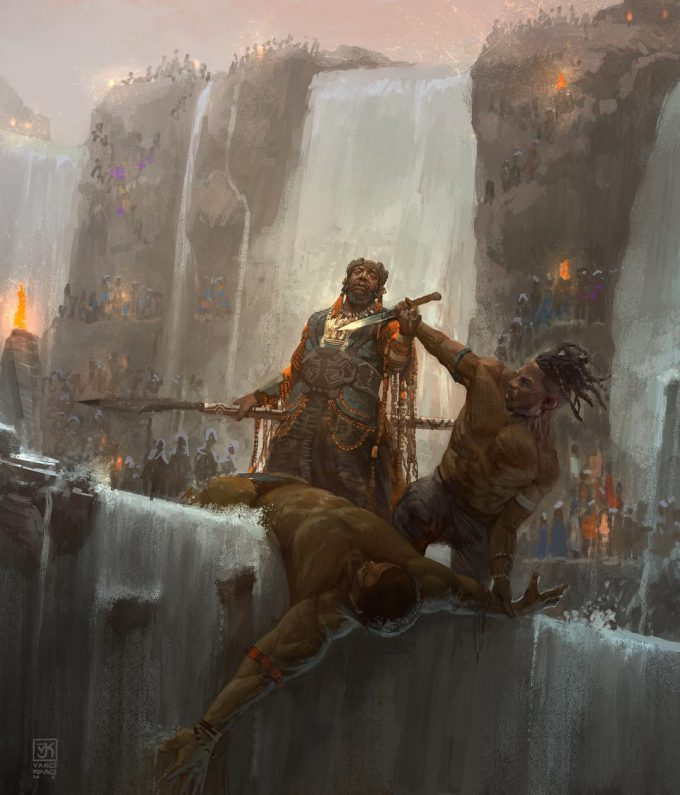 black panther concept art vance kovacs 06 Fight on the Falls