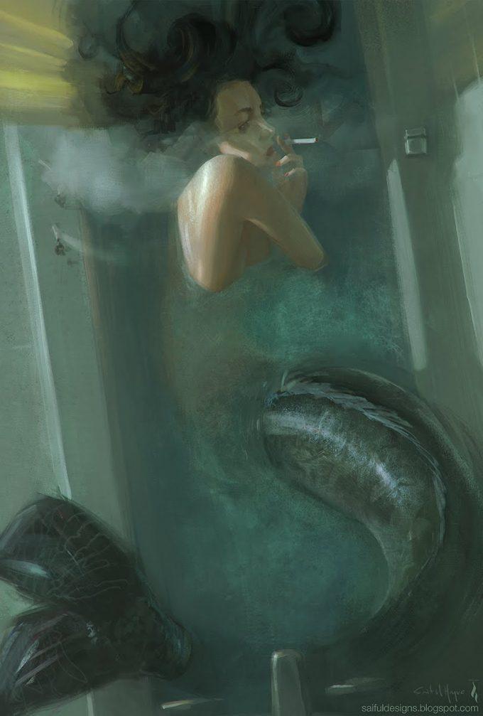 Mermaid Concept Art Illustration 01 Saiful Haque mermaid dark