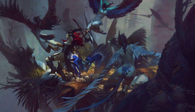 bayard wu art illustration fighting in the harpy nest