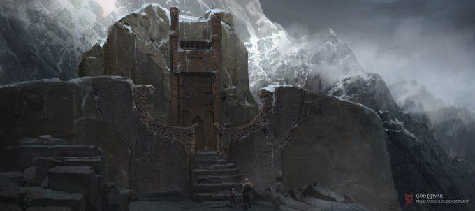 God of War Concept Art Vance Kovacs preaks pass entrance