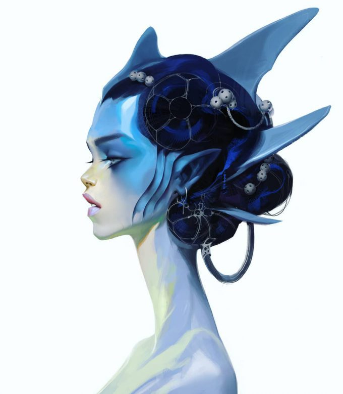 Fantasy portrait cocnept studies viktor titov shark girl
