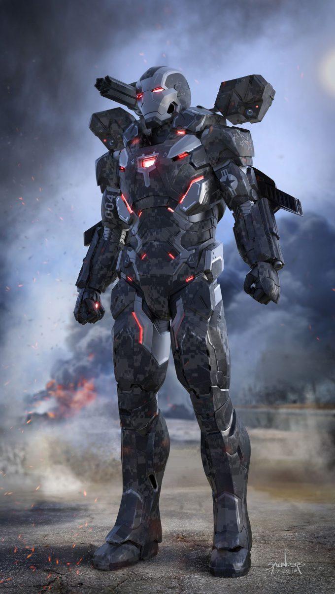 Avengers Infinity War Concept Art Phil Saunders warmachinemk4 v2 bkpk ft3qtr open