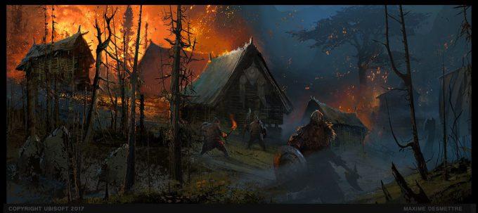 For Honor Game Concept Art Maxime Desmettre 01 Village Under Attack