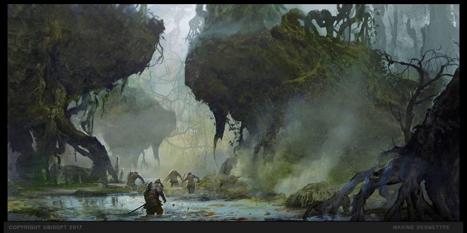 For Honor Game Concept Art Maxime Desmettre forest rootsravine samurai