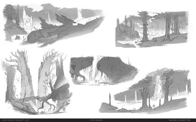 For Honor Game Concept Art Maxime Desmettre forest sketches