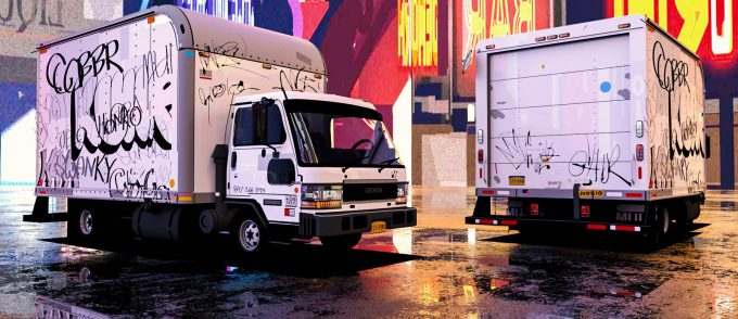 Spider Man Into the Spider Verse Concept Art Vaughan Ling box truck comp