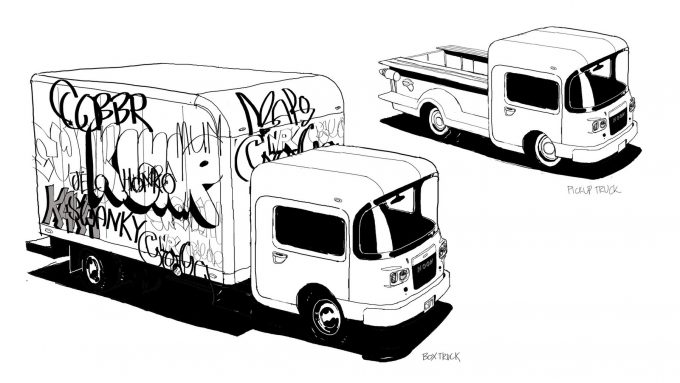 Spider Man Into the Spider Verse Concept Art Vaughan Ling boxtrucks
