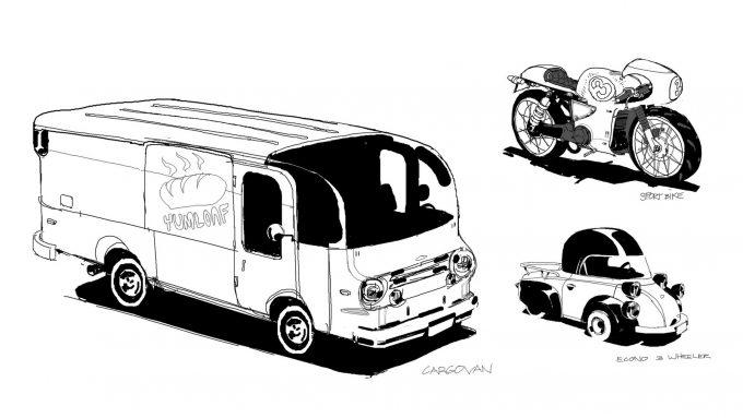 Spider Man Into the Spider Verse Concept Art Vaughan Ling cargovan econo sportbike