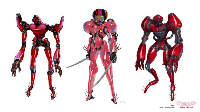 Spider Man Into the Spider Verse Concept Art Vaughan Ling spdr lineup