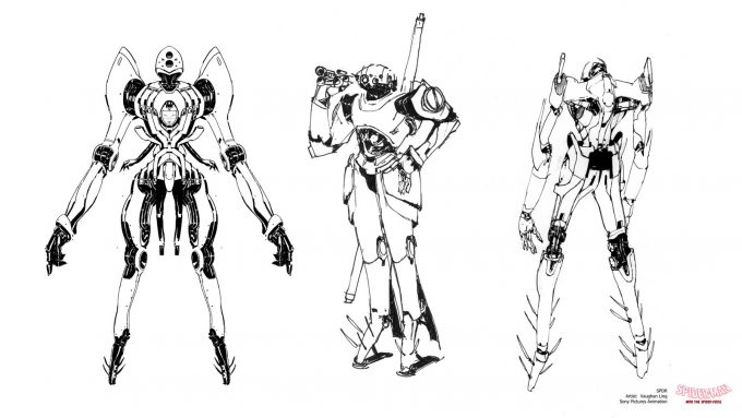 Spider Man Into the Spider Verse Concept Art Vaughan Ling spdr sketches slender type