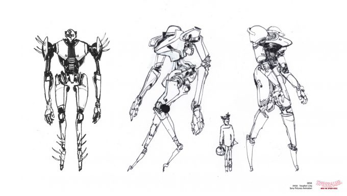 Spider Man Into the Spider Verse Concept Art Vaughan Ling spdr sketches slender typeb