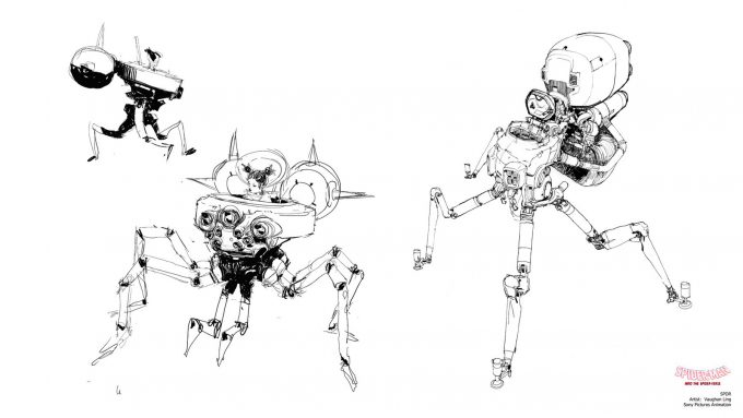 Spider Man Into the Spider Verse Concept Art Vaughan Ling spdr sketches spider type
