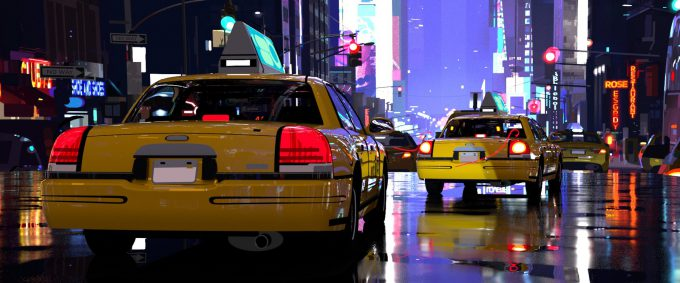 Spider Man Into the Spider Verse Concept Art Vaughan Ling taxi rear off