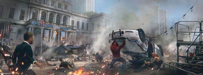 Spider Man PS4 Game Concept Art Dennis Chan Cityhall Bombing Concept Final v001