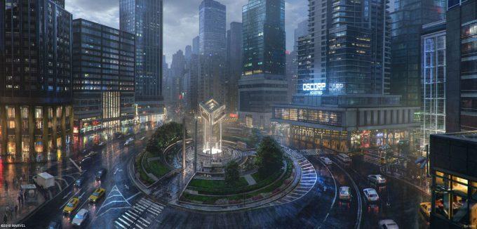 Spider Man PS4 Game Concept Art Dennis Chan ColumbusCircle Exterior Final