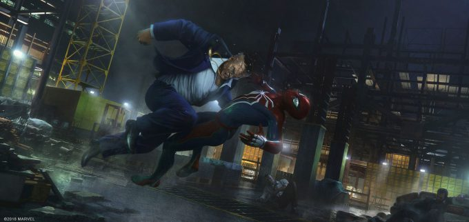 Spider Man PS4 Game Concept Art Dennis Chan Hammerhead Fight Concept Final v01