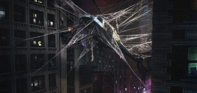 Spider Man PS4 Game Concept Art Dennis Chan HelicopterCrash Final v01