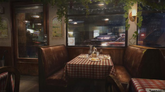 Spider Man PS4 Game Concept Art Dennis Chan Italien Restaurant Concept Final V01