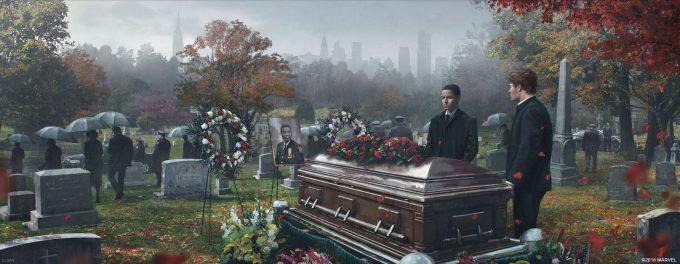 Spider Man PS4 Game Concept Art Dennis Chan JeffersonDavis Funeral Final Concept