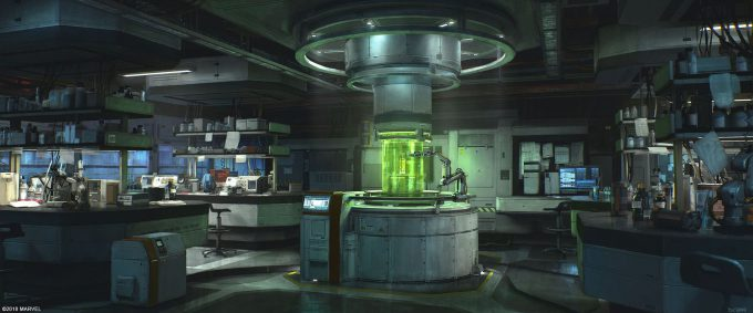Spider Man PS4 Game Concept Art Dennis Chan Lab Interior Concept Final v002