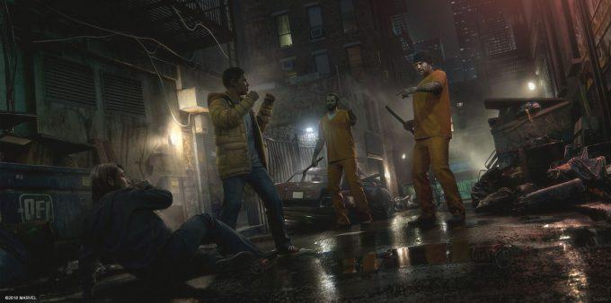 Spider Man PS4 Game Concept Art Dennis Chan Miles helps Concept Final V01