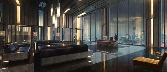Spider Man PS4 Game Concept Art Dennis Chan Oscorp Office Interior v001 Final dchan