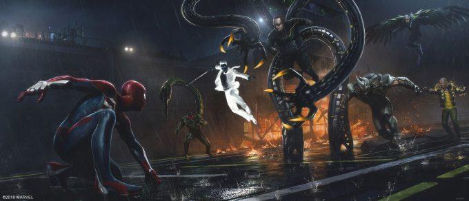 Spider Man PS4 Game Concept Art Dennis Chan Raft Ending Concept final v01