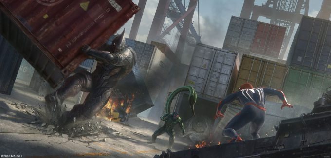Spider Man PS4 Game Concept Art Dennis Chan Rhino BossFight Concept Final v01
