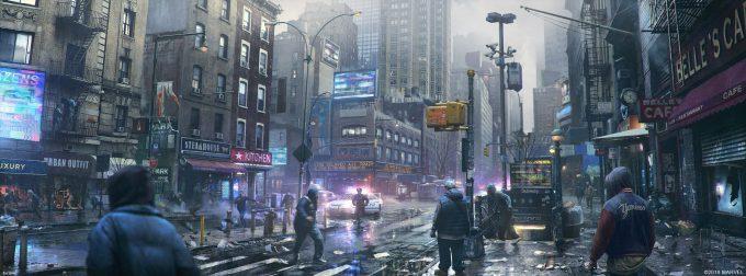 Spider Man PS4 Game Concept Art Dennis Chan StateOfWar Concept Final 02