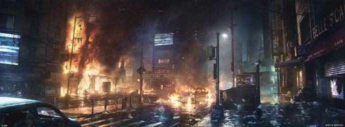 Spider Man PS4 Game Concept Art Dennis Chan StateOfWar Concept Final 03